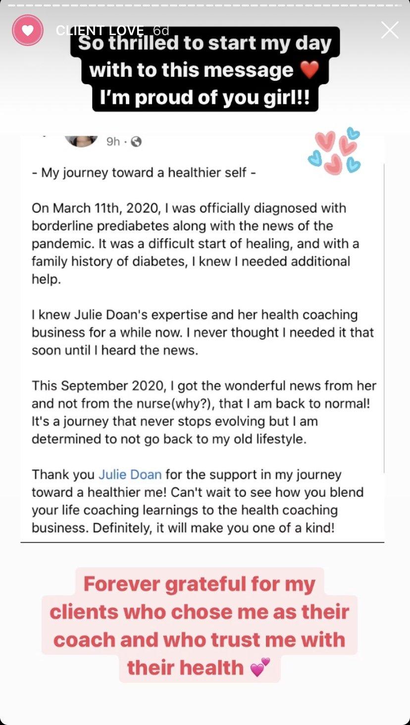 testimonial julie doan health coach